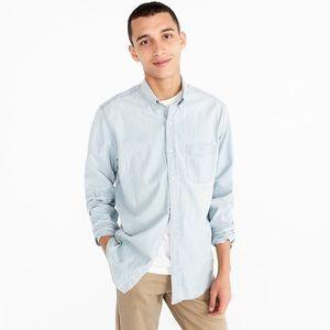 J. CREW Light Wash Stretch Chambray Shirt Denim L